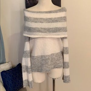 Free People Off Shoulder Grey Striped Sweater